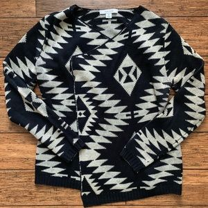 Black and Cream Aztec Print Open Cardigan